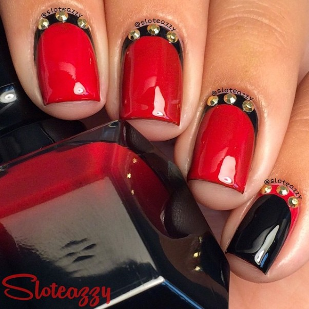 ruffian red and black nail design