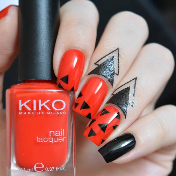 simple geometric red black nails bmodish