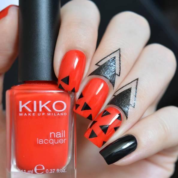 simple geometric red black nails bmodish
