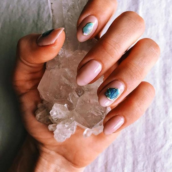 simple nude geode nails