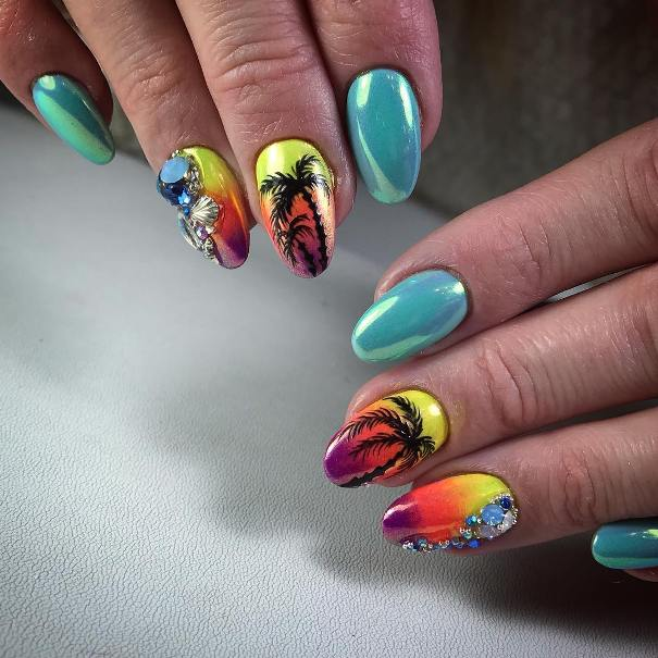 sunset chrome nail design