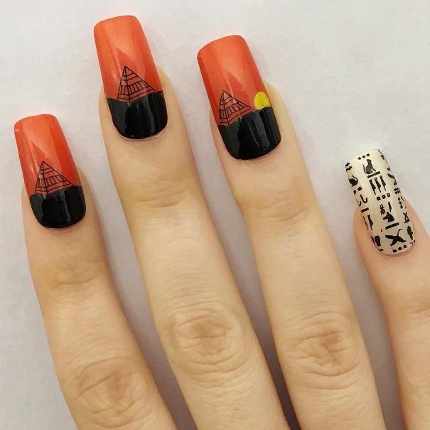 sunset in Giza nail designs