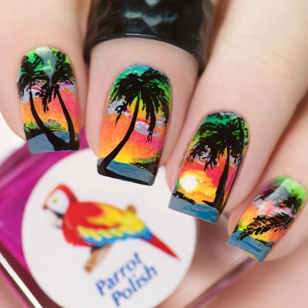 sunset in florida nail design bmodish