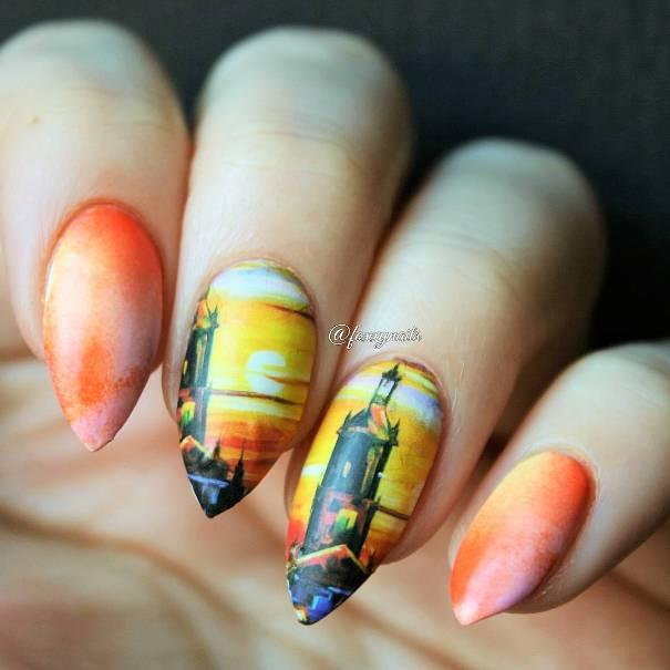 sunset in the city nail design bmodish