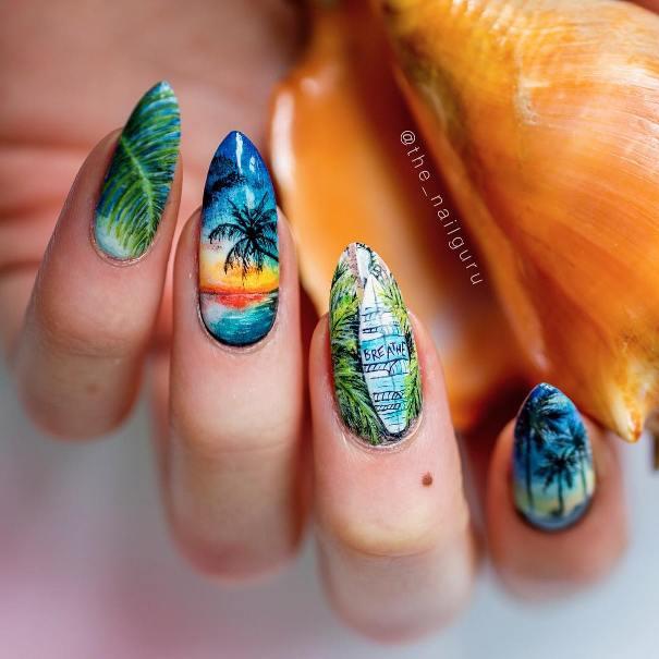 surfing summer tropical nails bmodish
