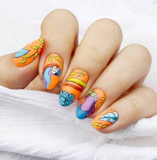 tropical birds nail designs bmodish