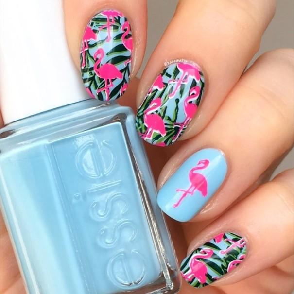 tropical flamingo nail design