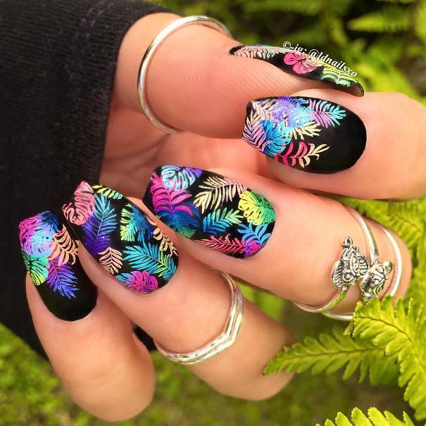 tropical jungle black nail design bmodish