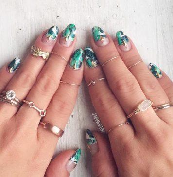tropical jungle nail design