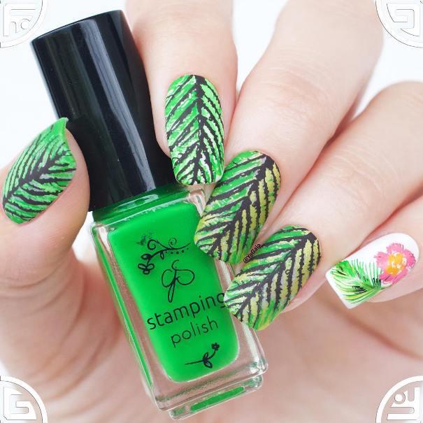 tropical layered stamping nail design bmodish