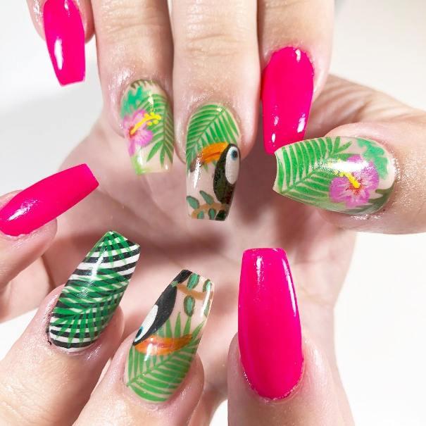 tropical paradise summer nail design