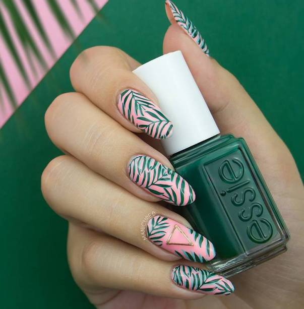 tropical plants pink nail design