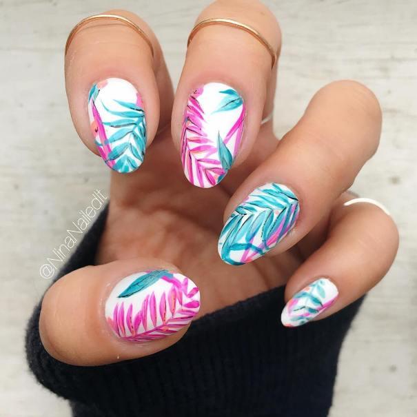 white tropical summer nail design