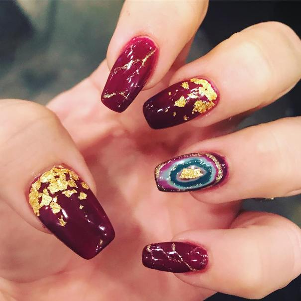 wine red geode nail art