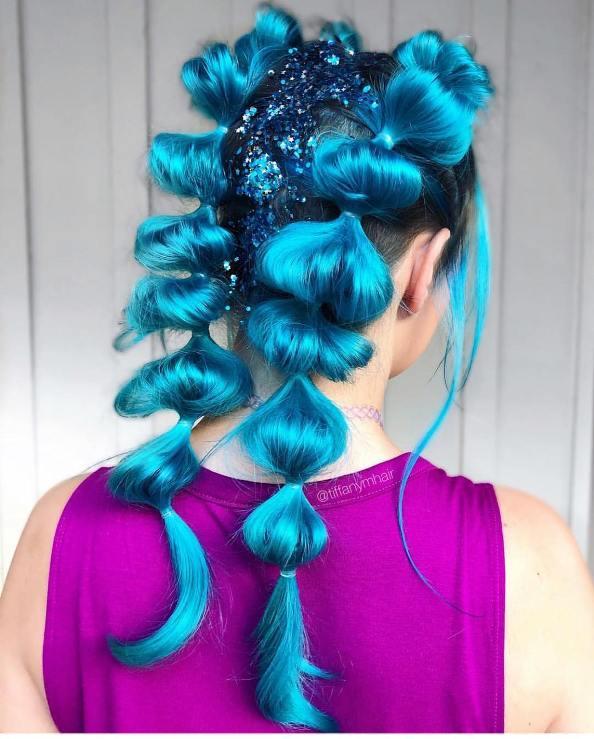 glitter blue double bubble braids