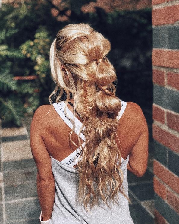 half up bubble braid long hair