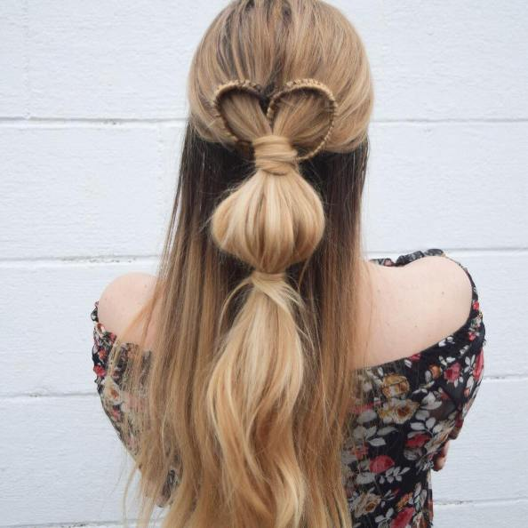 infinity heart with bubble braid hairstyle