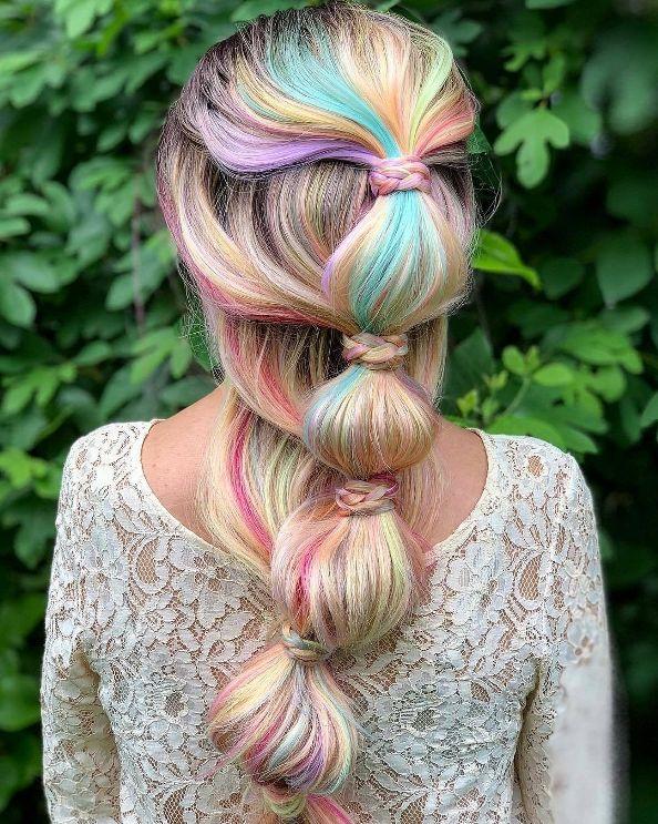 rainbow bubble braid