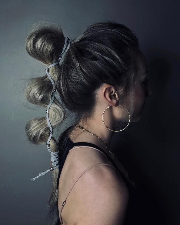 zig zag bubble ponytail