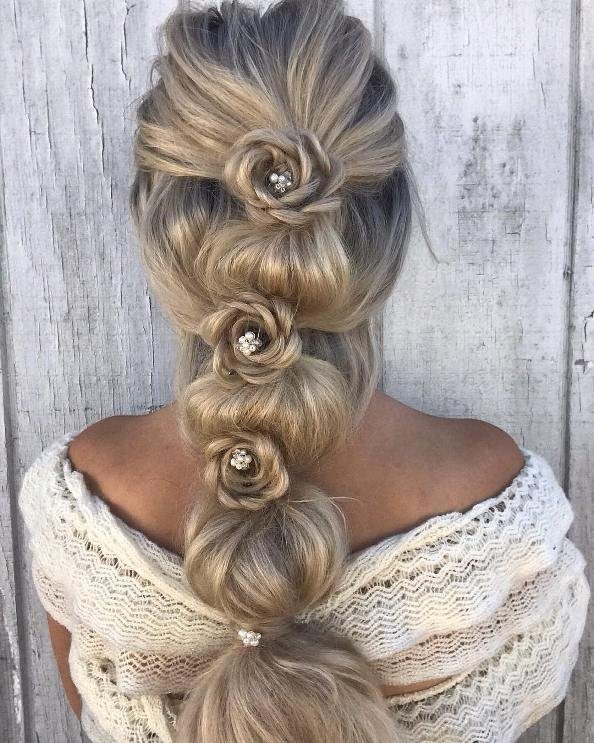 bubble braid with flower braids