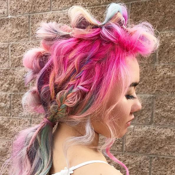 colorful bubble braid coachella hairstyle
