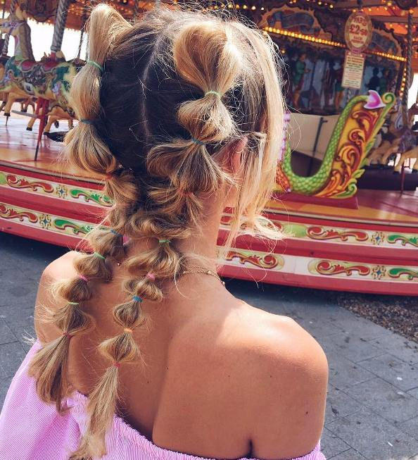 cute double side bubble braid summer hairstyle