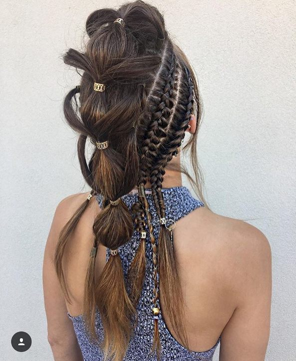 Edgy Westeros bubble braid hairstyle