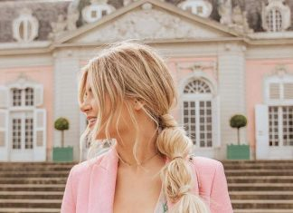Romantic side bubble braid